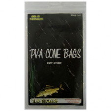 80 x 165MM Fishing PVA CONE BAGS WITH DRAW STRING (10 PACK)